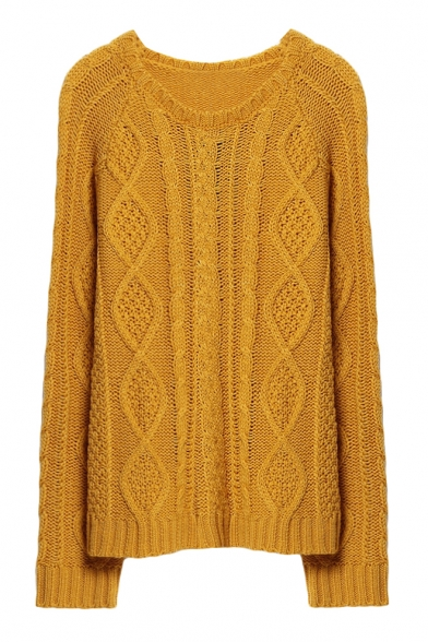 719a254a009b06 Plain Diamond Pattern Round Neck Raglan Sleeve Cable Knitted Sweater -  Beautifulhalo.com