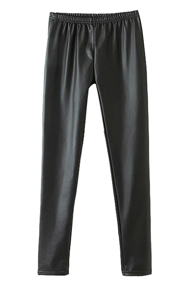 Plain PU Elastic Pull-On Skinny Pants