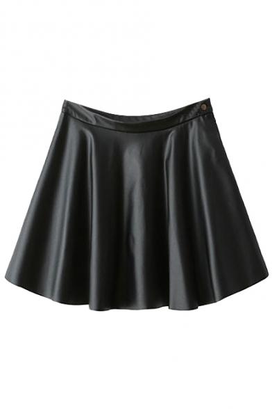 Plain PU Zipper Fly Side Pleated Flare Skirt