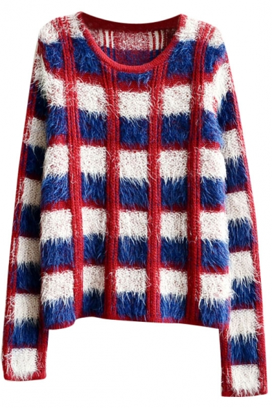 Color Block Plaid Round Neck Mohair Knitted Sweater