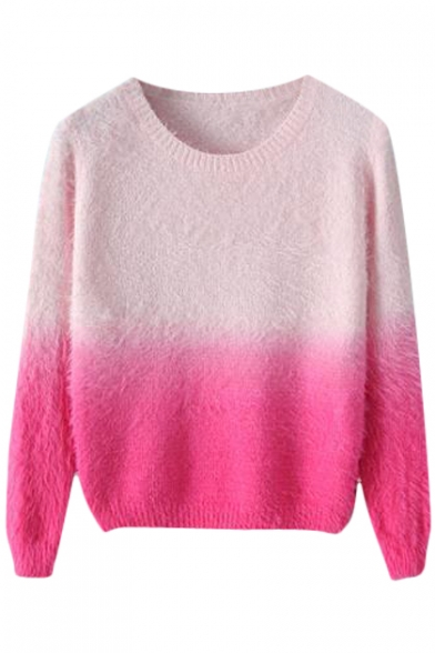 Fluffy Knit Ombre Jacquard Round Neck Long Sleeve Sweater