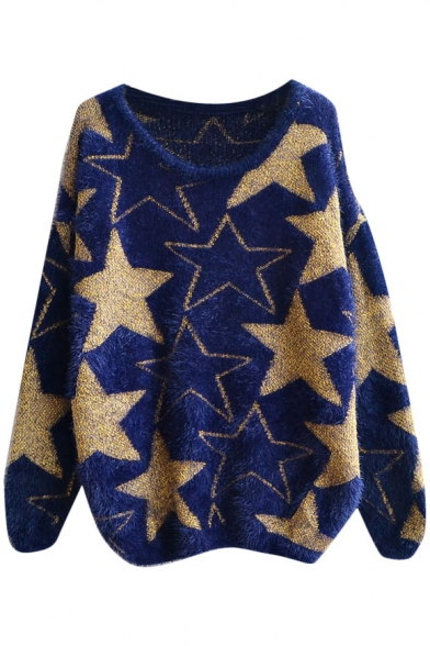 Gold Five-Pointed Star Pattern Round Neck Fluffy Sweater ...