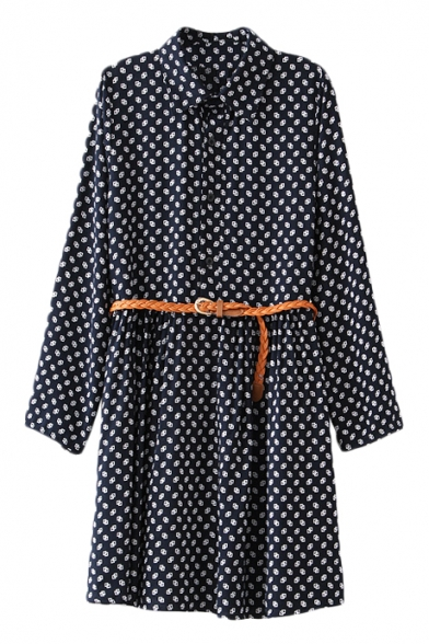Lapel Polka Dot Pattern Column Dress with Belt
