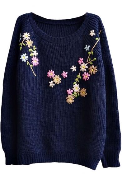 Preppy Look Raglan Sleeve Floral Embroidered Long Sleeve Sweater