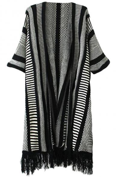 Stripe Jacquard Bat Short Sleeve Tassel Trim Open Front Kimono ...