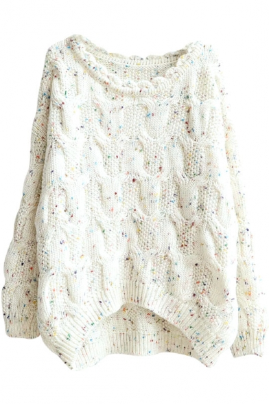 Cable Knit Crochet Collar High Low Hem Loose Sweater ...
