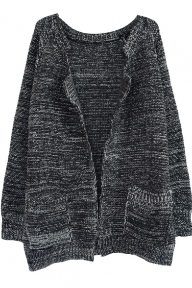 Mohair Vintage Color Mix Thread Open-front Cardigan with Double Pockets