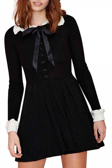 Peter Pan Collar Knitted Pleated Dress With Contrast Trim