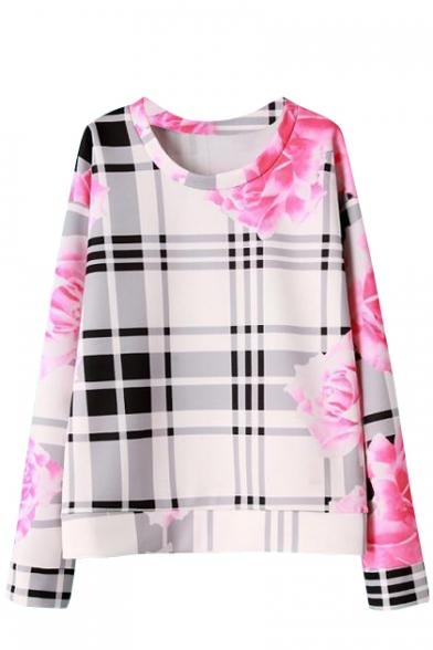 Plaid Floral Print Round Neck Long Sleeve Sweatshirt