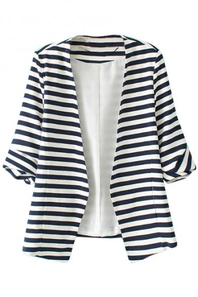 Stripe Print V-Neck Short Sleeve Fitted Open Front Blazer