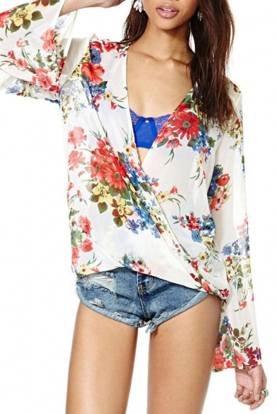 White Background Red Floral Print Bell Sleeve Wrap Front Chiffon Blouse