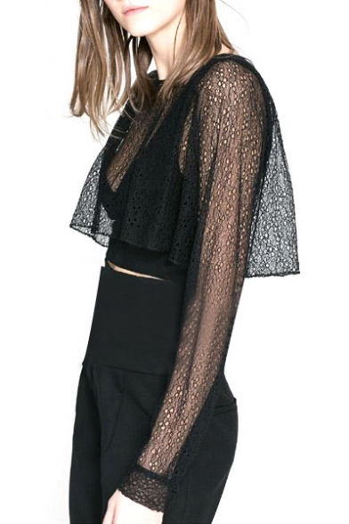 d5e8f7db86ebd Black Lace Mesh Sheer Round Neck Long Sleeve Crop Top - Beautifulhalo.com