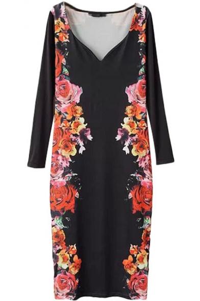 Deep V-Neck Black Background Opulent Rose Print Long Sleeve Longline Slim Dress