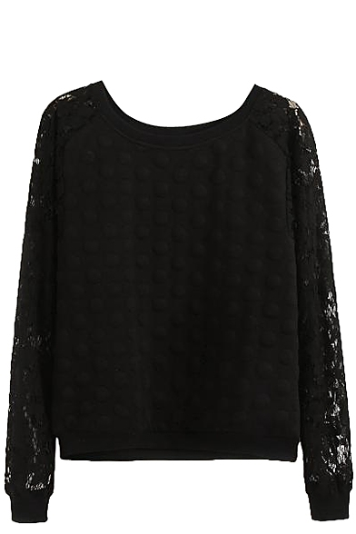 Plain Sheer Lace Insert Sleeve Round Neck Sweatshirt