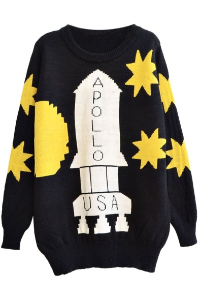 Apollo Rocket and Star Pattern Round Neck Loose Thick Sweater