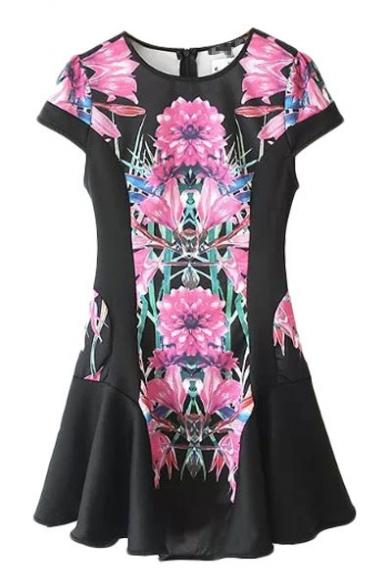 Pink Flower Print Round Neck Short Sleeve Dress with Peplum Hem