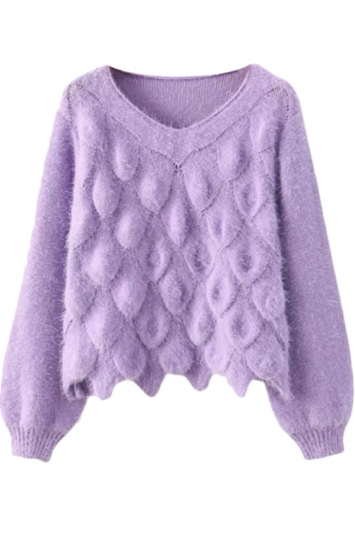 cd2aa3515 Scale Knitting Pattern Plain Long Sleeve Mohair Sweater with Round Neck