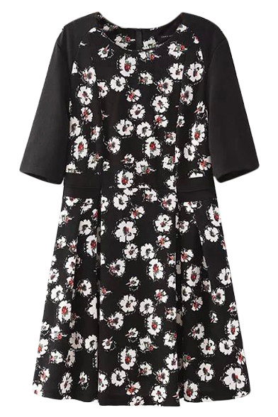 Black and white floral print dress