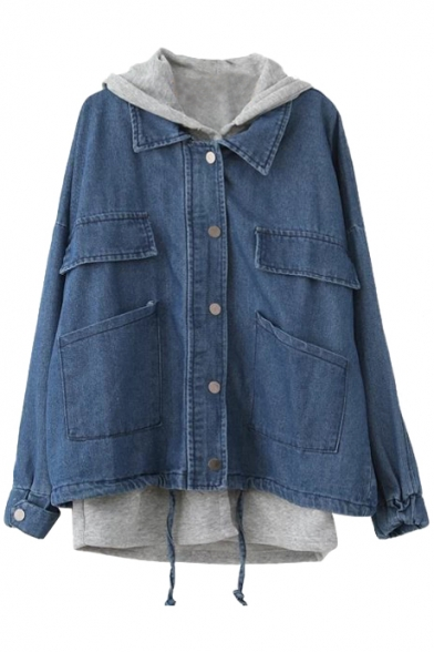 Blue Two Piece In One Hooded Drawstring Single-Breast Denim Coat ...