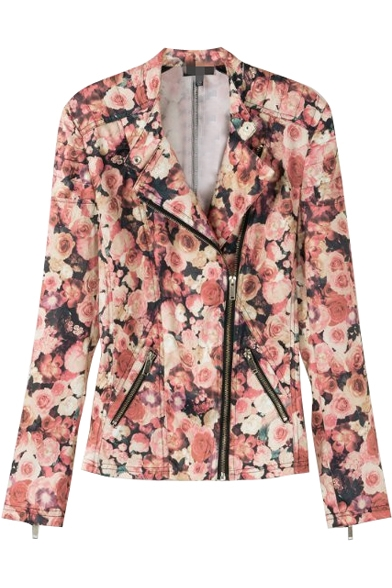 Pink Floral Print Zipper Fly Long Sleeve Biker Jacket ...