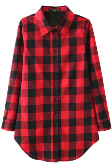 Plaid Print Color Block Scalloped Hem Single-Breast Long Sleeve Blouse