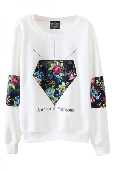 Round Neck Flower Print Cloth Panel Long Sleeve Sweatshirt