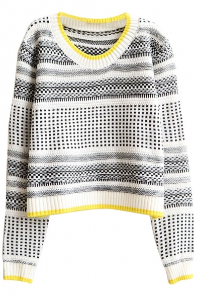 Vintage Geometrical Striped Round Neck Crop Sweater with Contrast Trim