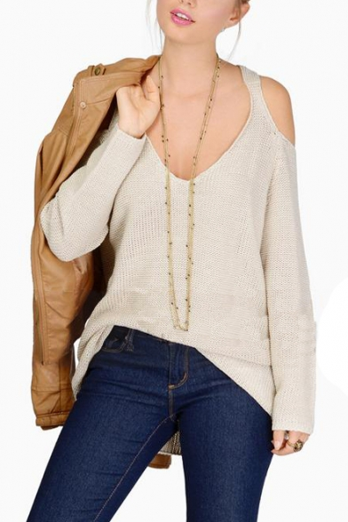 c072708d6b5837 ... Plain Cute Style Cold Shoulder V-neck Knitted Sweater ...