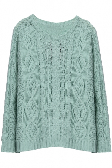 9ad1b7a5943a20 ... Plain Diamond Pattern Round Neck Raglan Sleeve Cable Knitted Sweater ...