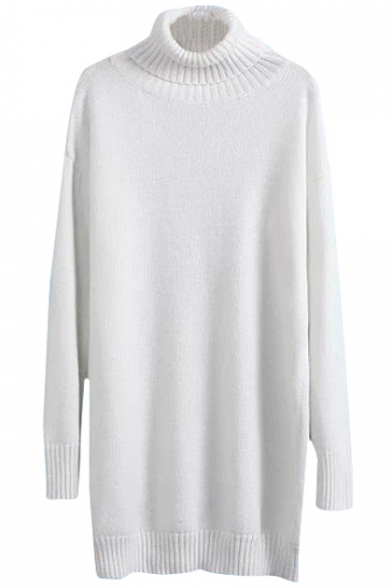 Plain Fitted Turtleneck Tunic Sweater with Long Sleeve ...