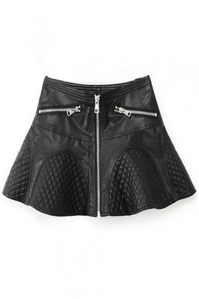 Plain Leather A-Line Ruffle Hem Skirt with Zipper Details