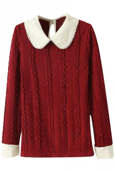 Burgundy Twist Cable Knit Long Sleeve Sweater With White Peter Pan
