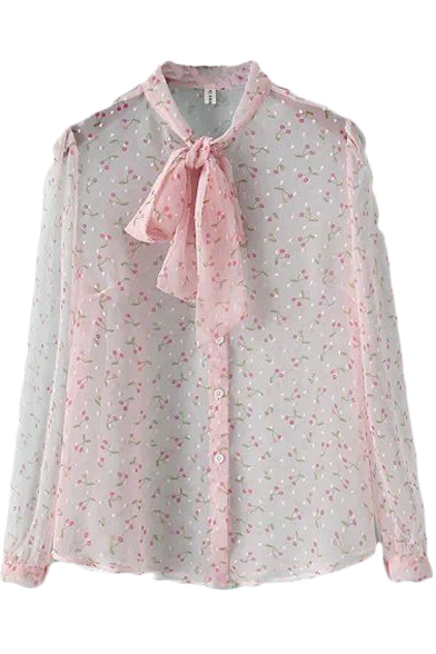 Cherry Print Bows Stand Collar Single Breast Sheer Blouse