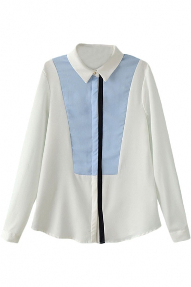 Color Block Lapel Single Breast Long Sleeve Chiffon Blouse