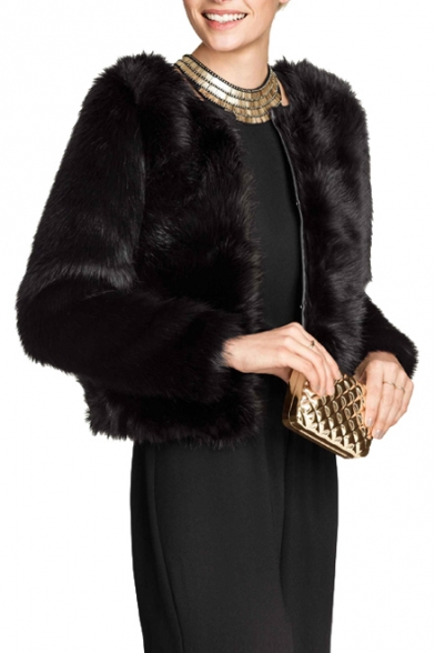 325f4c10a838 Gorgeous Black Faux Fur Hidden Hook Round Neck Cropped Coat -  Beautifulhalo.com