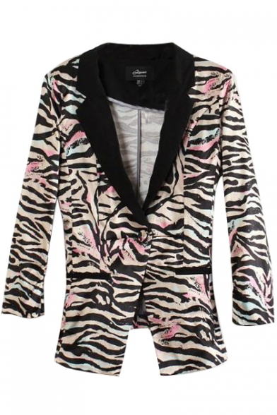 Pink Background Zebra Pattern Print Slim Blazer with Notched Lapel