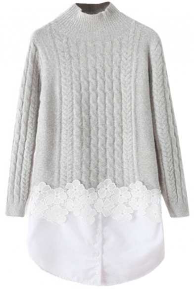 Plain High Neck Lace Insert Cable Knit Fake Two Tunic Sweater ...