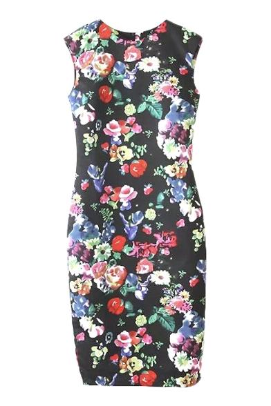 Black Floral Print Skinny Sleeveless Round Neck Pencil Dress