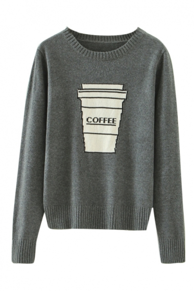 Coffee Cup Pattern Round Neck Long Sleeve Knitted Sweater