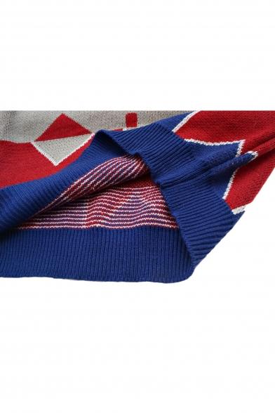 Geometric Jacquard Raglan Sleeve Round Neck Tunic Sweater