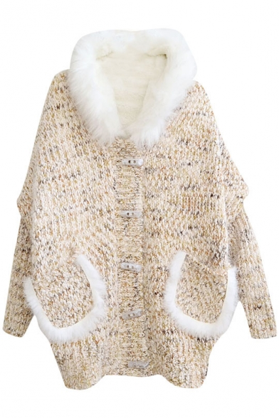 Lamb Hair Added Pockets Embellished Batwing Vintage Hooded Button Fly Cardigan