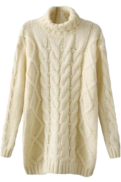 Plain Turtleneck Cable Knit Loose Laid Back Tunic Sweater ...