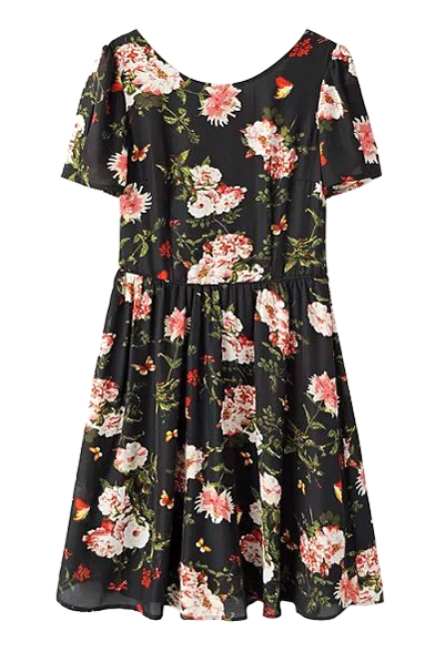 Black background white flower print crossback short sleeve round black background white flower print crossback short sleeve round neck dress mightylinksfo