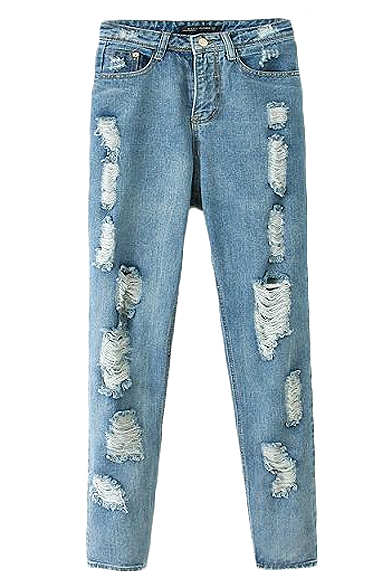 Distressed Ripped Light Wash Straight Leg Jeans