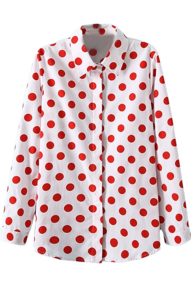 White lapel red polka dot single breast blouse with long for White red polka dot shirt
