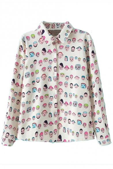 Cartoon Character Print Lapel Long Sleeve Single Breast Blouse