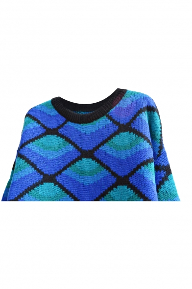 Color Block Diamond Pattern Round Neck Loose Mohair Sweater