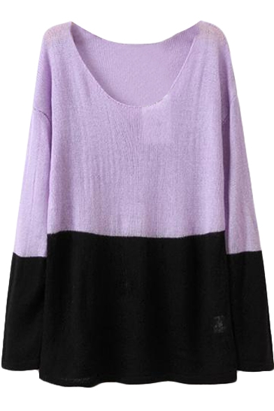 Color Block Mohair Round Neck Sweater in Loose Fit