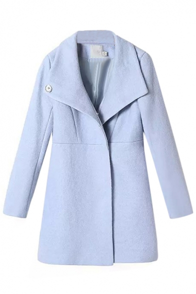 Concise Light Blue Hidden Buttoned Wool Coat with Oversized Lapel ...