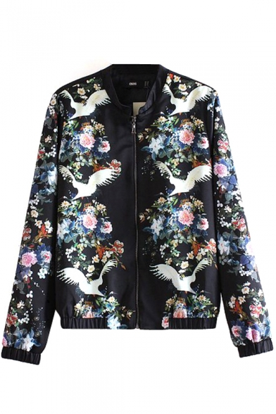 Flying Bird Floral Print Stand-Up Collar Zippered Jacket